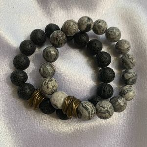 Jewelry - Gold-Accended Ceramic Bead Bracelets